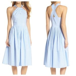 Gal Meets Glam Claire Blue Stripe Halter Dress